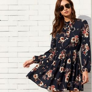 Navy blue floral dress